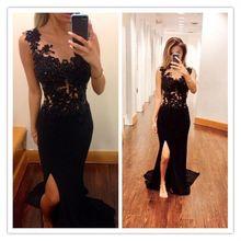 2017 schwarz Sexy Slit Formale Kleider V-ausschnitt Appliques Bodenlangen Satin Luxus Ballkleider Abendkleid Real Photo Abendkleider
