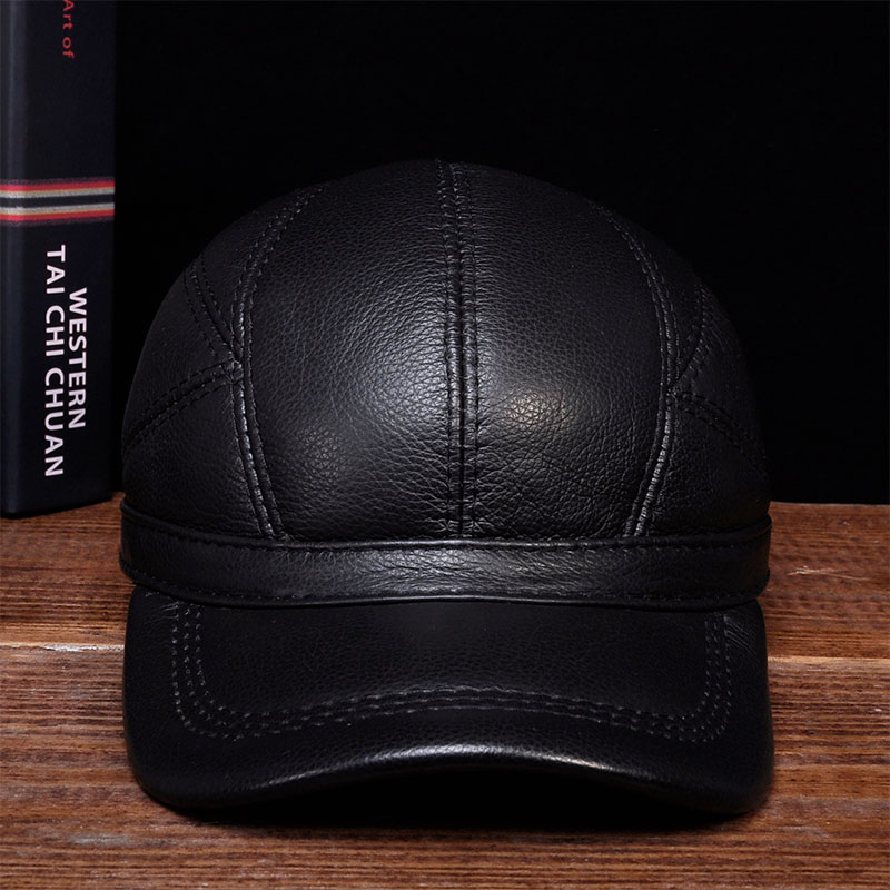 HL030 MEN'S genuine leather baseball cap hat brand new cow skin warm caps hats aorice winter genuine sheepskin leather hat brand new men s warm earmuffs hat man baseball caps leisure fashion brand hats hl030
