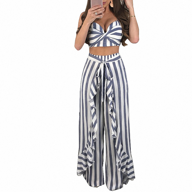 Sexy Summer Outfits for Women Striped Two Piece Set Draped Strapless Crop Top and Ruched Wide Leg Pants Clubwear Matching Sets
