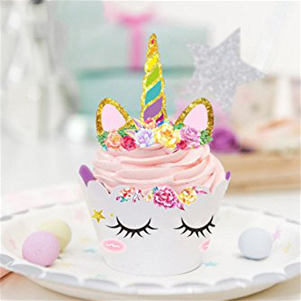 24pcs Birthday Party Unicorn Cake Cupcakes Wrappers Topper Cakes Kids For Childrens Day Decorative Supplies In Decorating From