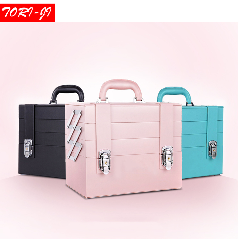 Tori-ji PU leather Makeup Train Case Professional Adjustable - 4 Trays Cosmetic Cases Makeup Storage Organizer Box with Lock pu leather makeup cases traval train jewelry storage box cosmetic lockable handle cosmetic makeup case empty makeup palette