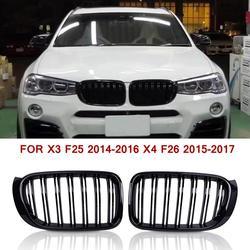 Dla BMW F25 kratka podwójna linia przednia wymiana grill nerkowy czarny błyszczący dla X3 F25 2014 2016X4 F26 2015 2017 w Kratki wyścigowe od Samochody i motocykle na
