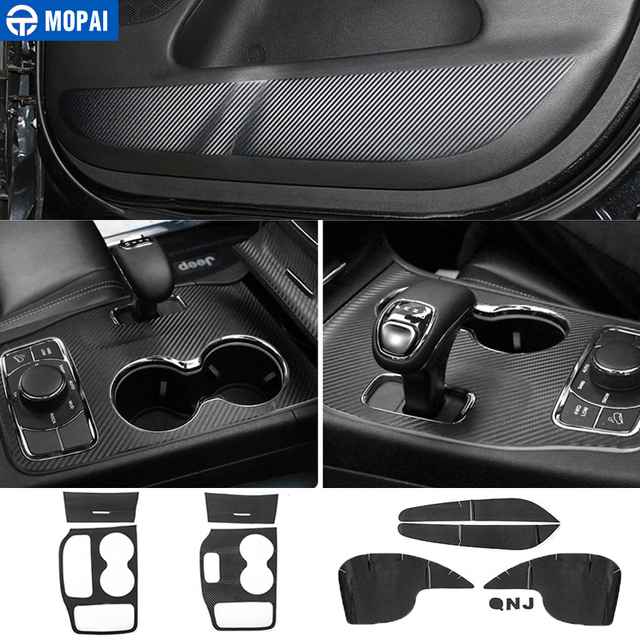 MOPAI ABS Car Interior Door Anti Kick Gear Shift Panel Cup Holder Trim Sticker For Jeep Grand Cherokee 2011 Up Car Styling