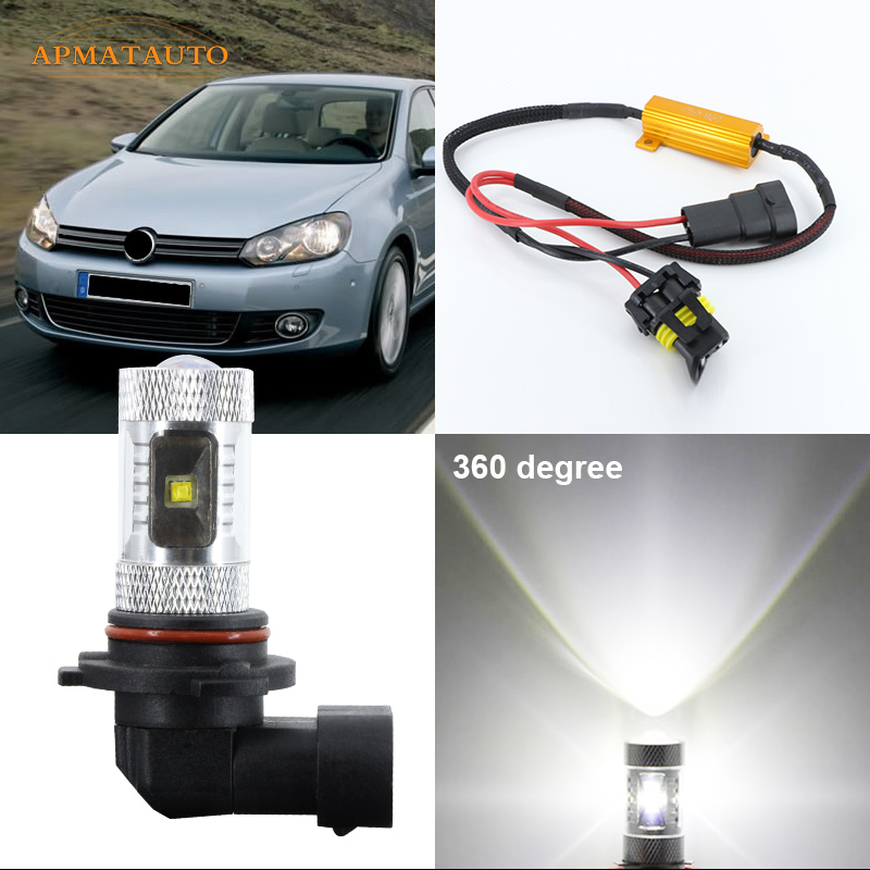 2 x Canbus No Error 9006 HB4 Super Birght Projector LED Fog Lights Lamp Bulb For 2011-2012 Volkswagen VW Golf 6 MK6 boaosi 1x 9006 hb4 car canbus bulbs reflector mirror design fog lights no error for vw golf 6 mk6 scirocco t5 transporter
