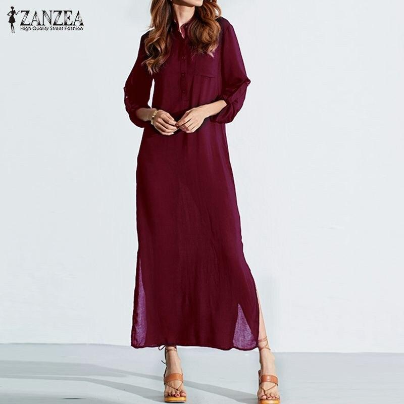 Vestidos 2018 ZANZEA Frauen Retro Langes Kleid Elegante Sexy Damen Langarm Tiefen V-ausschnitt Lange Split Festen Boden-länge Kleid