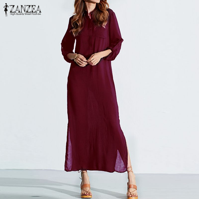 Vestidos 2018 ZANZEA Women Retro Long Dress Elegant Sexy Ladies Long Sleeve Deep V Neck Long Split Solid Floor-length Dress