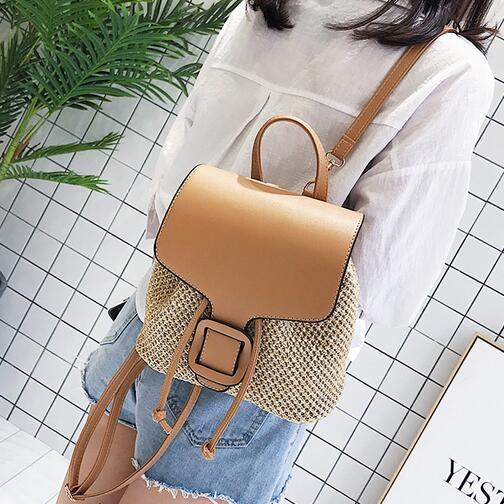 2018 Fashion New Women Backpacks Straw Shoulder bag Leisure Beach Splicing Backpack Teenage Girl Quality Travel Books Rucksack2018 Fashion New Women Backpacks Straw Shoulder bag Leisure Beach Splicing Backpack Teenage Girl Quality Travel Books Rucksack