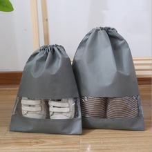 Non-woven Portable  Shoes Bag Travel Storage Pouch Drawstring Dust Bags cute rabbit style portable non woven cloth carrying pouch white