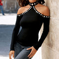 Women Fashion Chic Charming Girls Beads Off Shoulder Halter Backless Long Sleeve Fit Casual Top Black