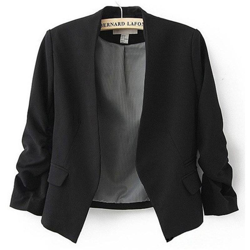 Para Mujer del color del caramelo blazer traje de manga larga sin el botón  pequeño traje chaqueta femenina participantes en las señoras chaqueta en ... b00347d8c62