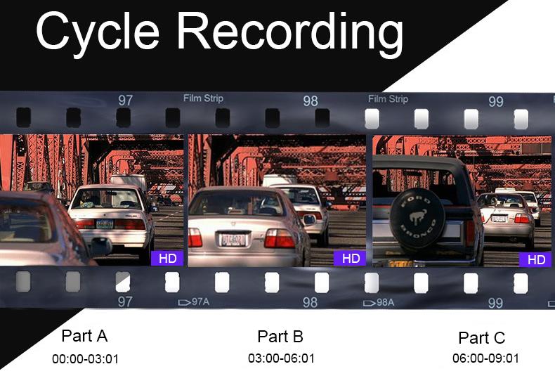 E-ACE Car Dvr 1080P Dual Lens Dash Camera Rear Mirror Digital Recorder With Rearview Camera Video Recorder Camcorder Registrar 7
