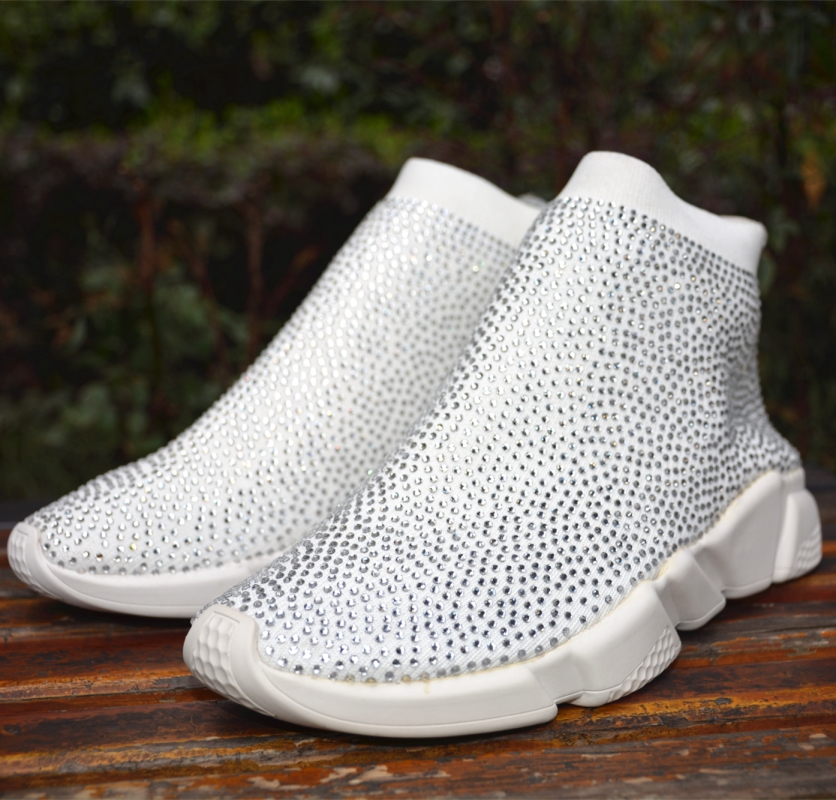 Blingbling Crystal Solid Woman Sneakers Breathable New Design Female Running Sport Casual Shoes Ladies Women Platform Sneakers
