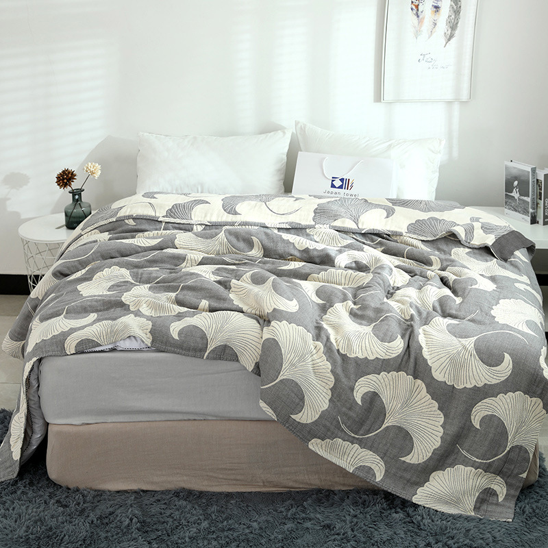 Junwell 100 Cotton Muslin Summer Blanket Bed Sofa Travel Breathable Chic Ginkgo Leaf Thread Large Soft