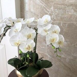 Image 2 - 1 סט גבוה כיתה סחלבים הסדר לטקס סיליקון אמיתי מגע גדול גודל יוקרה שולחן פרח בית מלון דקור אין אגרטל