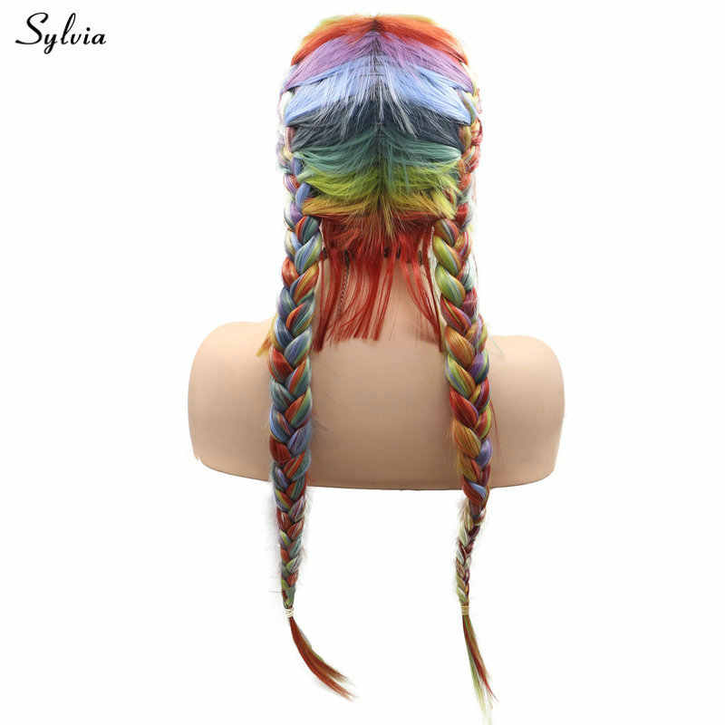 Sylvia 2x Twist Braids Wig With Baby Hair Rainbow Synthetic Lace Front Wigs Warm Peach Orange Red Blue Green Purple Long Hair