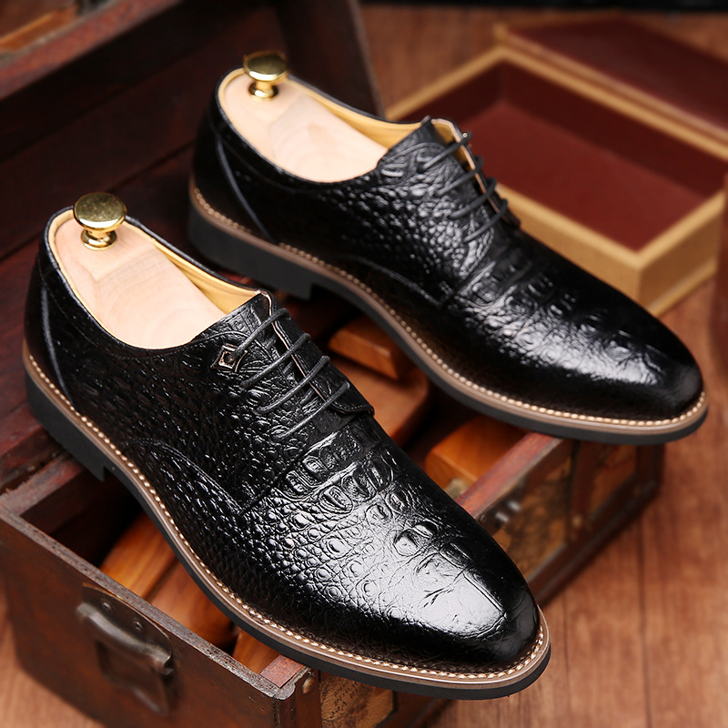Wedding Mens Dress Crocodile Leather Business Oxfords Lace Up Pointy Toe Shoes