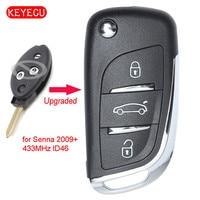Keyecu Upgraded Flip Remote Control 3 Button Fob 434MHz ID46 Chip for Peugeot Senna 2009 SX9 Blade Car Key