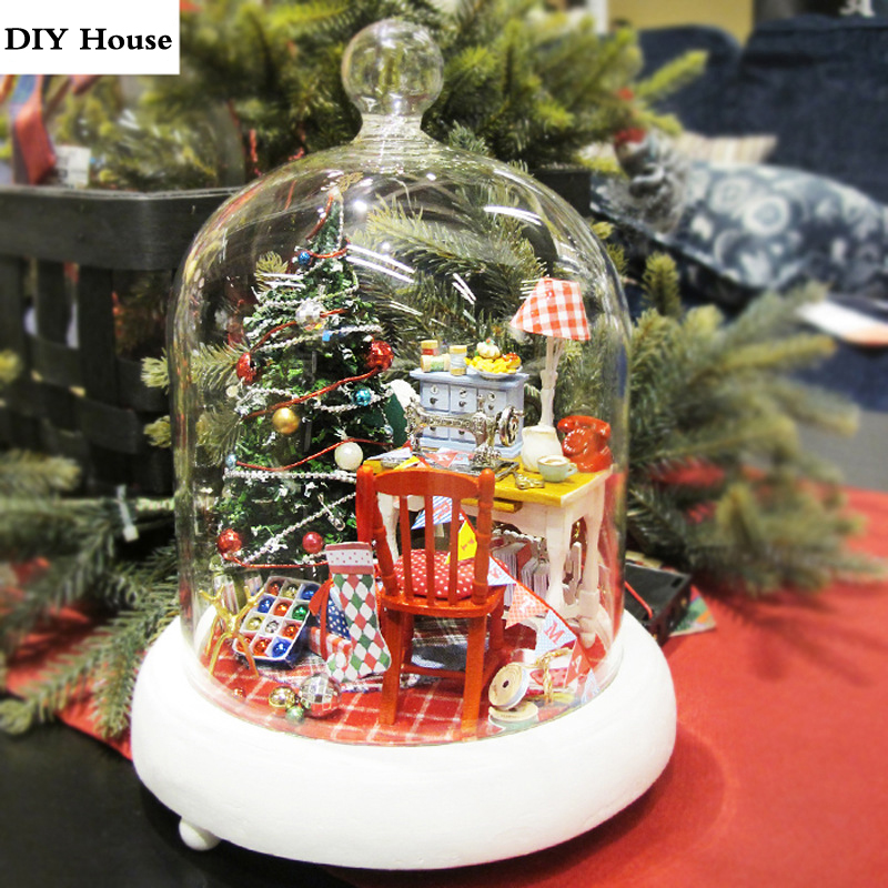 Glass Cover Dollhouse Kit Christmas Decor Gift DIY Doll House Furniture Handmade Puzzle Toy Miniature Music Box Craft Model