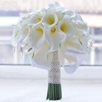 2018 Beautiful White/Yellow Calla Lily Wedding Bouquet Brides Bridesmaid Artificial Wedding Flower Bridal Bouquet buque de noiva