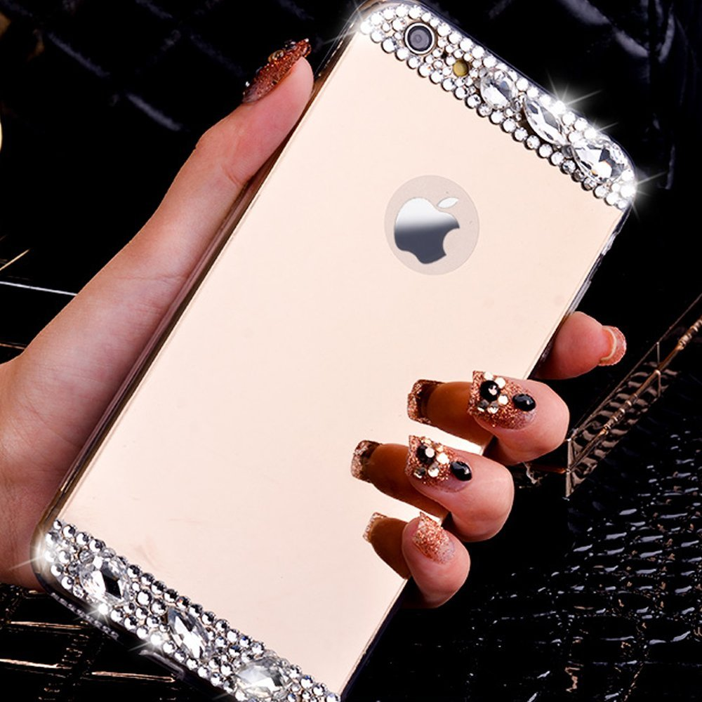 TUMI.OvO Luxury Diamond Jewelry Bling Crystal Mirror Soft TPU Cover Case for iPhone 4 4S 5 5S 5SE 6 6S 7 Plus Mobile Phone Cases