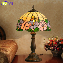 FUMAT Flower Lampshade Lamps Pastoral Stained Glass Table Lamp Bedside Warm Village Dilii Light Fixtures Lamparas LED Table Lamp