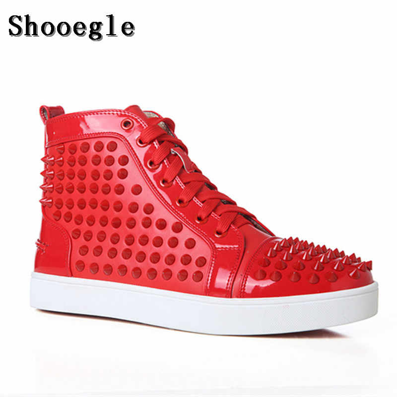 SHOOEGLE New Chaussure Homme Men Spike Shoes Stylish Sneakers High top Men Shoes Platform Rivets Red Blue Leather Ankle Boots