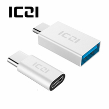 ICZI Type C to Micro USB Adapter(1pcs) + Type C to USB 3.0 Adapter(1pcs) for Macbook Chromebook Pixel HTC 10 LG G5 (Silver)