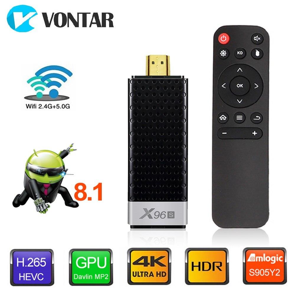 VONTAR X96S 4 K ТВ Stick Android 8,1 4 GB 32 GB Amlogic S905Y2 4 ядра 2,4G и 5 ГГц Wi-Fi BT4.2 1080 P H.265 4 K 60pfs ТВ ключ