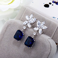 Hot ! Square CZ Earrings for Women S925 Sterling Silver Star Flower Stud Earrings Pave AAA Zircon Weddings blue CZ Earrings