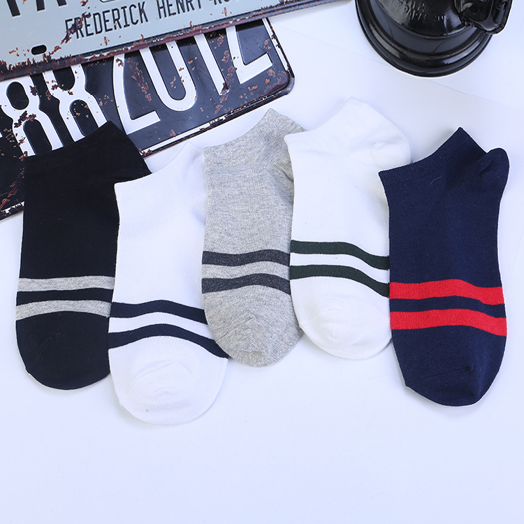 Men's Striped Cotton Boat Socks Two Bars Men's Socks Two Bars Low to Help Comb Cotton Deodorant Socks Men