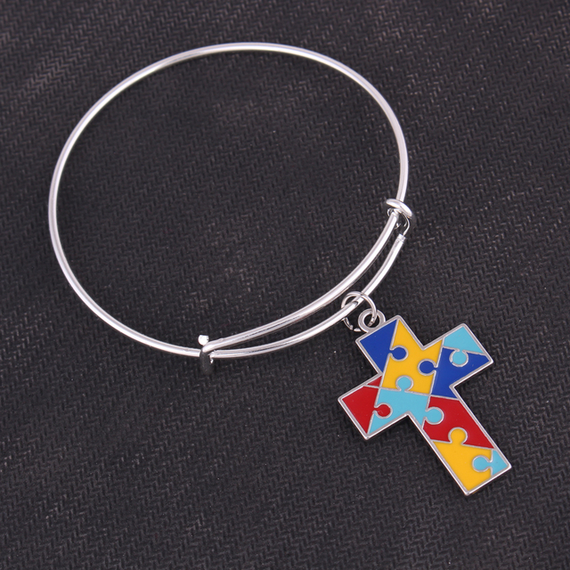 bracelets men fashion cross diezi metal autism bangles for bracelet puzzle awareness women autistic item charm crystal
