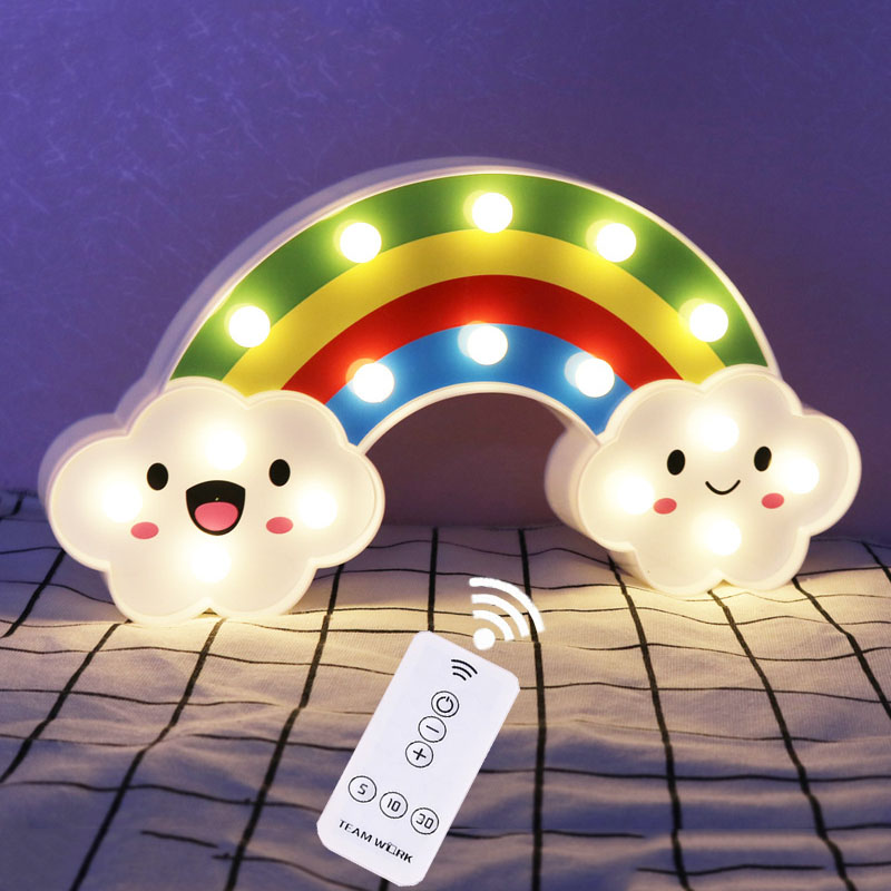 Thrisdar Smile Face Rainbow LED Night Light With Controller Battery Powered Cartoon Table Lamps Wall Light Baby Bedside Lamps beiaidi smile face cloud rainbow led night light dimmable cartoon night lamp with remote baby bedside lamp kids toy gift light