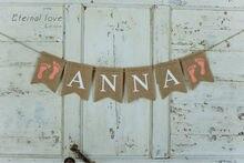 Mädchen Fuß Druck Banner, Baby Rosa Footprint Name Banner, Mädchen Baby Shower Banner