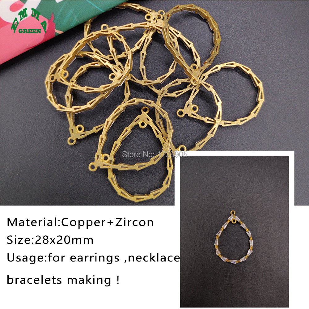 Zircon Charms Pendant Copper Drop shape for Earrings Making 10 pcs 28 mm For DIY Jewelry Making Accessories in Jewelry Findings Components from Jewelry Accessories
