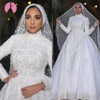 98080498a2898 ... gelinlikler vestido de casamento. Teklifi Göster. Robe De Mariee Custom  Made High Neck Long Sleeves Muslim Wedding Dresses 2019 Luxury Princess Lace