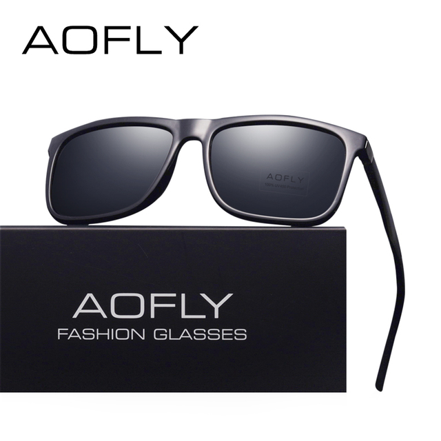 ea46de9e37 AOFLY BRAND DESIGN Classic Polarized Sunglasses Men Driving Square Black  Frame Sun Glasses for Men Eyewear