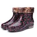 Grande Tamanho Botas de Chuva 36-41 para As Mulheres Flores Ladies Chuva Shoes Curtas Antiderrapante Sapatos Sapatos de Borracha Térmicas de Pelúcia meias Rainboots