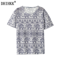 2016 New Fashion Harajuku Elephant Print T Shirt Women Clothes Short Sleeve Tops O Neck Tee