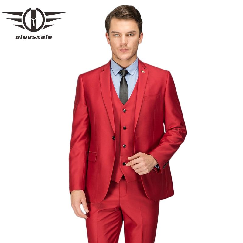 Plyesxale Red Suit Men 2018 Slim Fit Three Piece Wedding Suits For Men Designer Party Prom Suits (Jacket+Pants+Vest) Q100