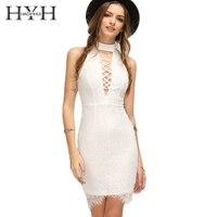 HYH HAOYIHUI Women Dress Solid White Halter Sexy Lace Bodycon Dress V Neck Lattice Front Shaping