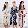 Осень Зима Фланель утолщение пижамы женщин халат Слинг мини-юбка Красивая прекрасная печать Халаты Белье Из Двух частей костюм