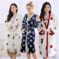 Autumn Winter Flannel thickening pajamas women robe Sling mini skirt Beautiful lovely printing Lingerie Bathrobes Two-piece suit
