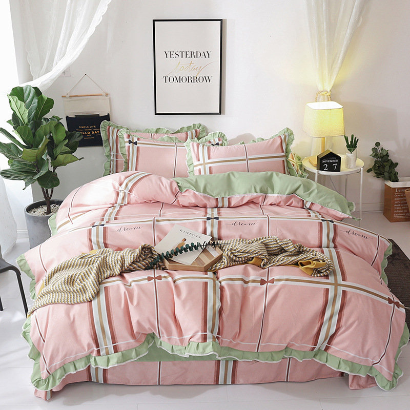 Korean version of the lace princess wind four-piece set of wool tribute cotton single double bedspread bedding XHS0124Korean version of the lace princess wind four-piece set of wool tribute cotton single double bedspread bedding XHS0124