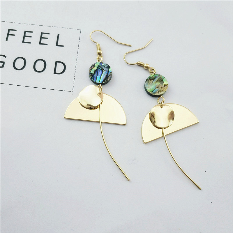 Free shipping Temperament of the new south Korean minimalist natural shell alloy restoring ancient ways women ear hook by hand