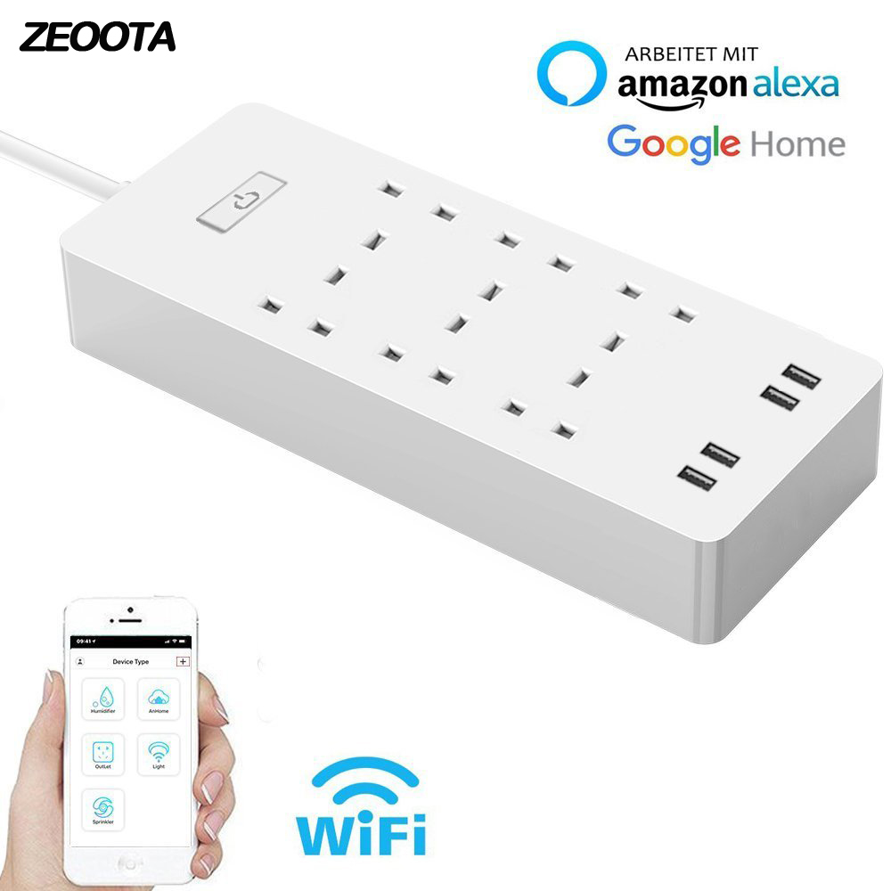 WiFi Smart Power Strip Surge Protector 6 AC UK Plug Outlets Sockets with USB Remote Control