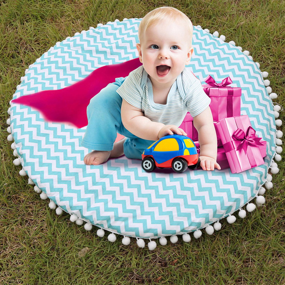 Wave Pattern Fuzzy Balls Round Crawling Mat Rug Game Pad Climbing Blanket for Children striped pattern plush blanket for children