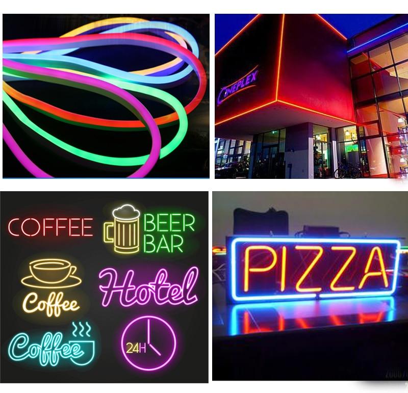 220 В/110 В led neon light SMD2835 20 м 50 м 92led/м зеленый красный, белый синий светодиод гибкий канат неоновые полосы - 6