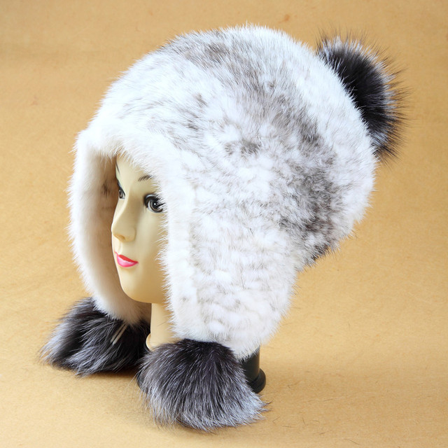 Hot sale fashion women's hats lxuruy genuine mink fur knitted fur hat with silver fox fur ball ear protector cap hat for girls