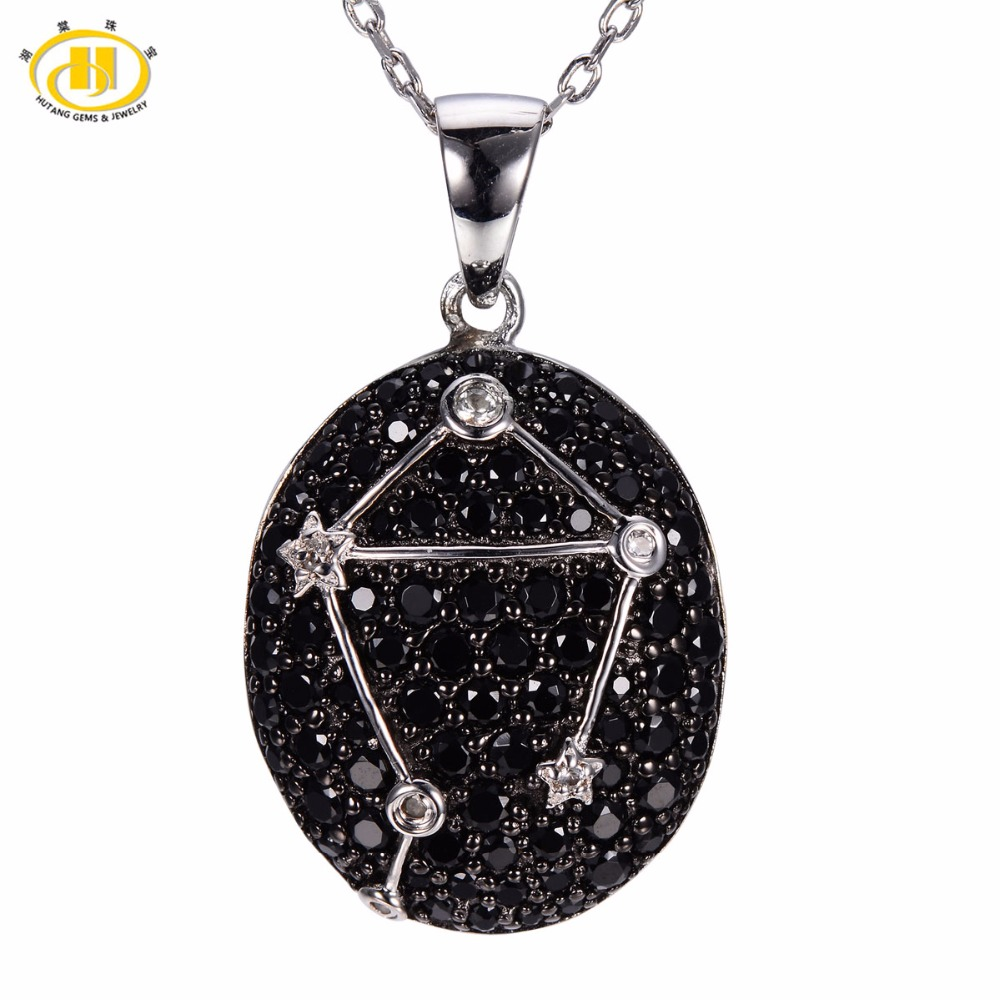 Hutang Libra Constellation Pendant Gemstone Black Spinel Solid 925 Sterling Silver Fine Jewelry 23th Sept Until 23th October New