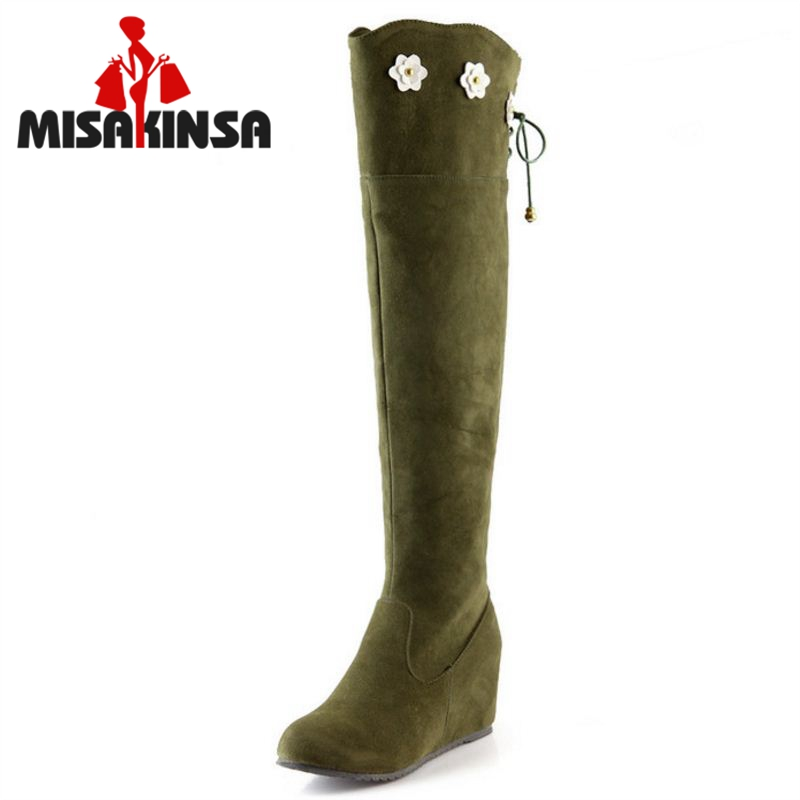 Women Wedge Over Knee Boot Snow Fashion Winter Warm Long Boots Riding Botas Masculina Quality Footwear Shoes Size 34-43